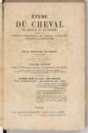 Etude du cheval de service et de guerre d'après les principes élémentaires des sciences naturelles appliqués à l'agriculture